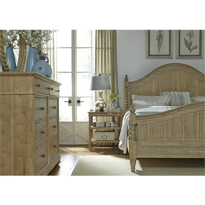 Liberty Furniture Harbor View Poster Bed & Dresser & Mirror & Chest in Dove Gray Finish