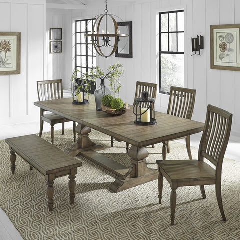 Liberty Furniture Harvest Home 6 Piece Trestle Table Set