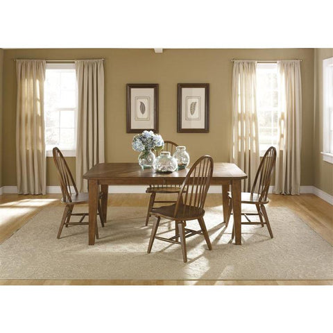 Liberty Furniture Hearthstone 5 Piece Rectangular Table Set in Rustic Oak Finish