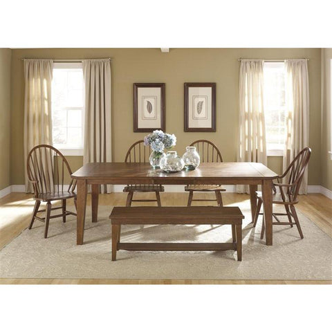 Liberty Furniture Hearthstone 6 Piece Rectangular Table Set in Rustic Oak Finish