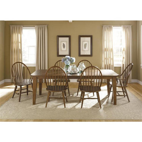 Liberty Furniture Hearthstone 7 Piece Rectangular Table Set in Rustic Oak Finish