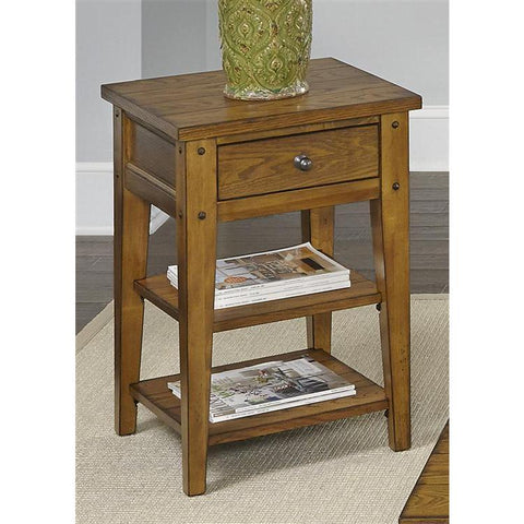 Liberty Furniture Lake House Chair Side Table in Oak Finish