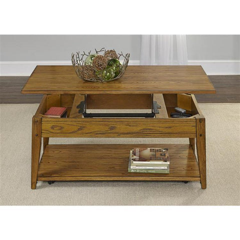 Liberty Furniture Lake House Lift Top Cocktail Table in Oak Finish
