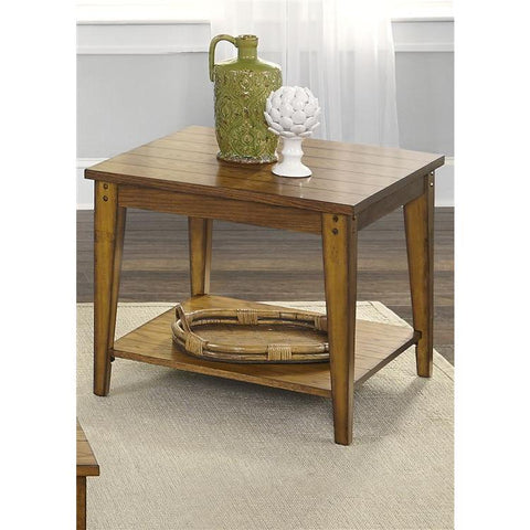 Liberty Furniture Lake House Square Lamp Table in Oak Finish