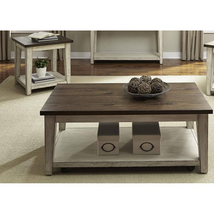 Liberty Furniture Lancaster 2 Piece Coffee Table Set In Weathered