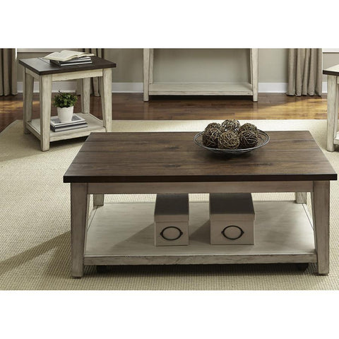 Liberty Furniture Lancaster 2 Piece Coffee Table Set in Weathered Bark w/White