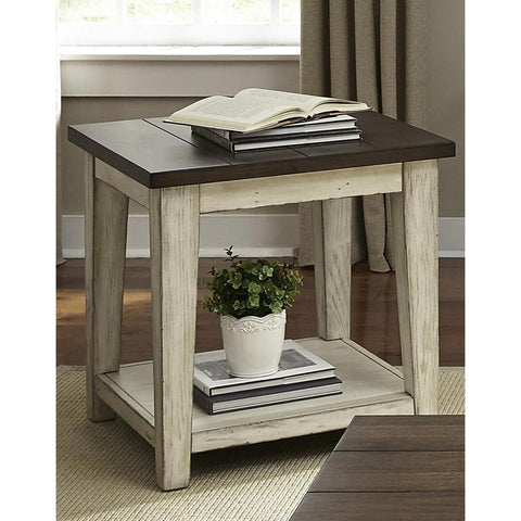 Liberty Furniture Lancaster End Table in Weathered Bark w/White