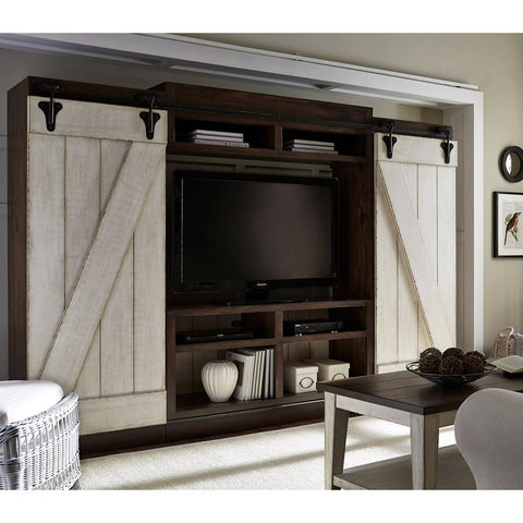 Liberty Furniture Lancaster Entertainment Center in Antique White & Antique Brown