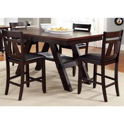 Liberty Furniture Lawson 5 Piece Gathering Table Set in Light & Dark Expresso Finish