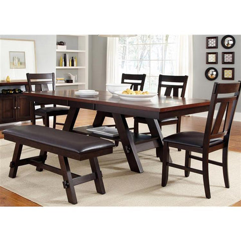 Liberty Furniture Lawson 6 Piece Rectangular Table Set in Light & Dark Expresso Finish