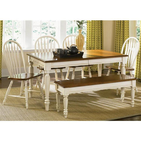 Liberty Furniture Low Country 6 Piece Rectangular Table Set in Linen Sand with Suntan Bronze