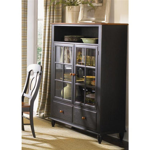 Liberty Furniture Low Country Curio Cabinet in Anchor Black with Suntan Bronze