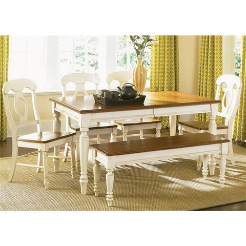 Liberty Furniture Low Country Opt 6 Piece Rectangular Table Set in Linen Sand with Suntan Bronze