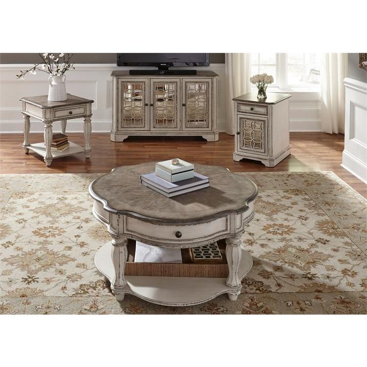 Round Coffee Table With Chairs.Liberty Furniture Magnolia Manor 3 Piece Round Coffee Table Set