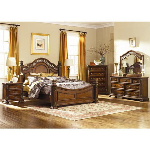 Liberty Furniture Messina Estates Poster Bed & Dresser & Mirror & Chest & Nightstand in Cognac Finish
