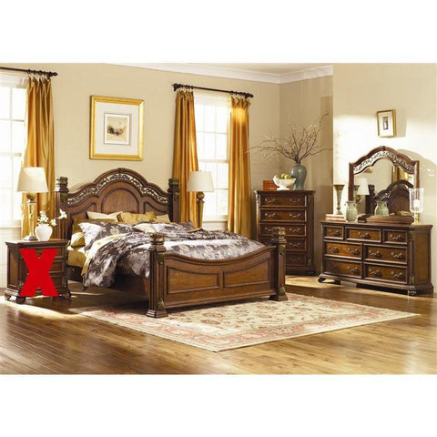 Liberty Furniture Messina Estates Poster Bed & Dresser & Mirror & Chest in Cognac Finish