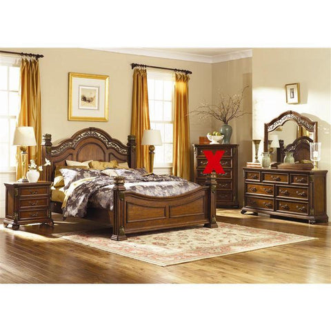 Liberty Furniture Messina Estates Poster Bed & Dresser & Mirror & Nightstand in Cognac Finish