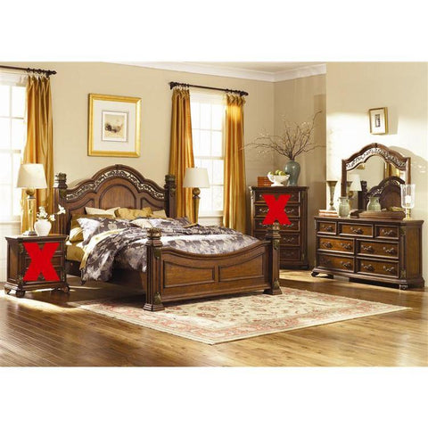 Liberty Furniture Messina Estates Poster Bed & Dresser & Mirror in Cognac Finish