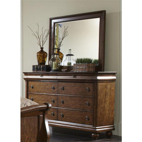 Liberty Furniture Rustic Traditions Dresser & Mirror in Rustic Cherry Finish