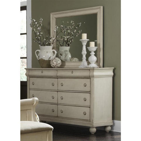 Liberty Furniture Rustic Traditions Dresser & Mirror in Rustic White Finish