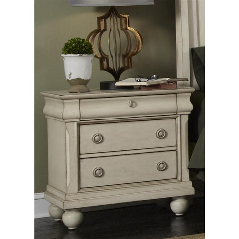 Liberty Furniture Rustic Traditions Night Stand in Rustic White Finish