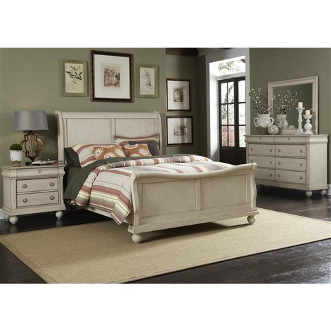 Liberty Furniture Rustic Traditions Sleigh Bed & Dresser & Mirror & Nightstand in Rustic White Finish
