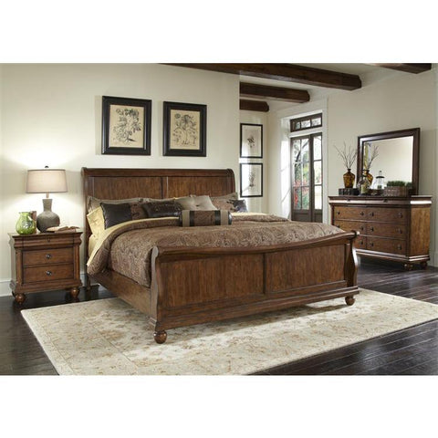 Liberty Furniture Rustic Traditions Sleigh Bed in Rustic Cherry Finish