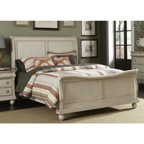 Liberty Furniture Rustic Traditions Sleigh Bed in Rustic White Finish