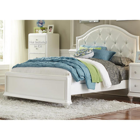 Liberty Furniture Stardust Panel Bed in Iridescent White