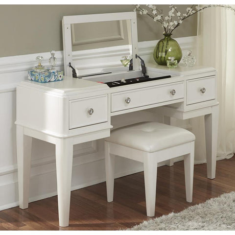 Liberty Furniture Stardust Vanity w/Bench in Iridescent White
