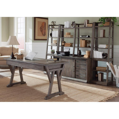 Liberty Furniture Stone Brook 4 Piece Home Office Suites in Rustic Saddle