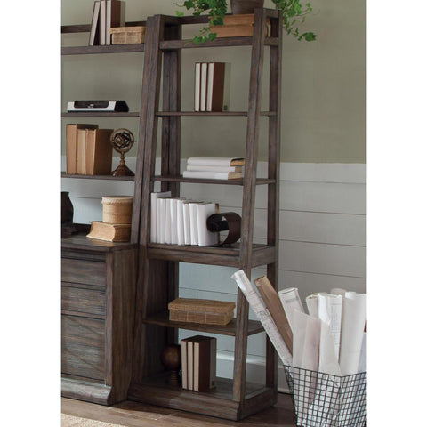 Liberty Furniture Stone Brook Leaning Bookcase in Rustic Saddle