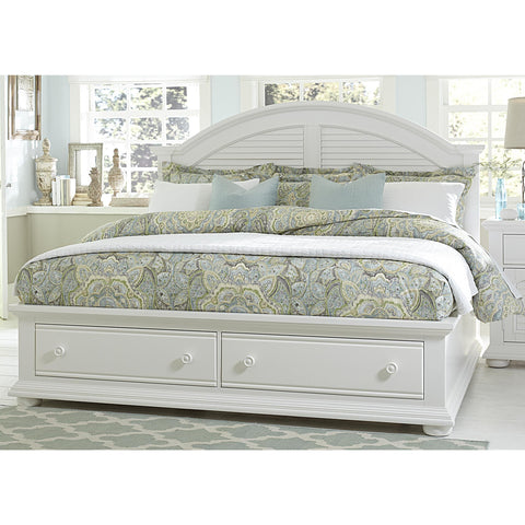 Liberty Furniture Summer House Storage Bed in Oyster White Finish