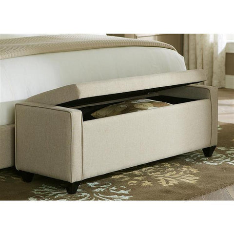 Liberty Furniture Upholstered Bed Bench in Natural Linen Fabric