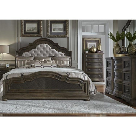 Liberty Furniture Valley Springs 3 Piece Upholstered Headboard Bedroom Set