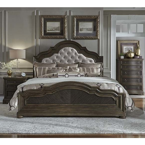 Liberty Furniture Valley Springs 3 Piece Upholstered Headboard Bedroom Set w/Nightstand