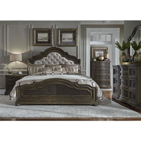 Liberty Furniture Valley Springs 4 Piece Upholstered Headboard Bedroom Set