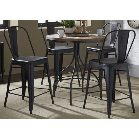 Liberty Furniture Vintage 5 Piece Round Pub Table Set w/Bow Back Chairs