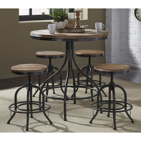 Liberty Furniture Vintage 5 Piece Round Pub Table Set