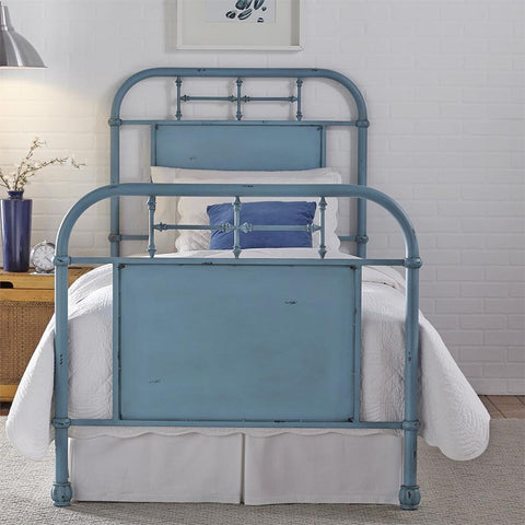 Liberty Furniture Vintage Series Metal Bed - Blue