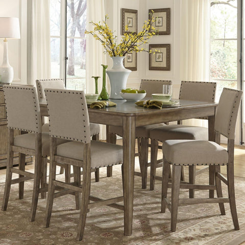 Liberty Furniture Weatherford 5 Piece Gathering Table Set in Weathered Gray Finish