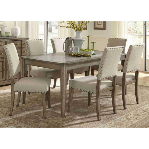 Liberty Furniture Weatherford 5 Piece Rectangular Table Set in Weathered Gray Finish
