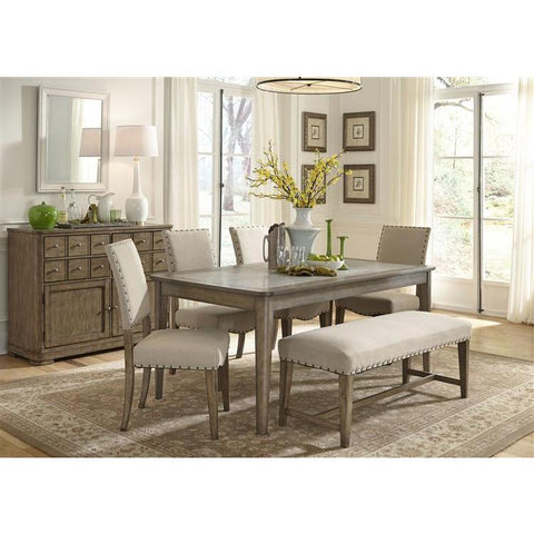 Liberty Furniture Weatherford 6 Piece Rectangular Table Set in Weathered Gray Finish