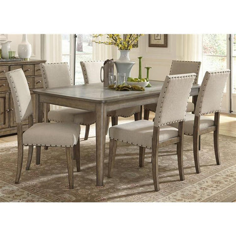 Liberty Furniture Weatherford 7 Piece Rectangular Table Set in Weathered Gray Finish