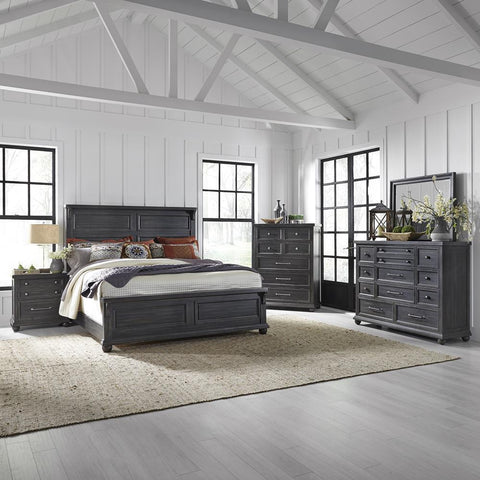 Liberty Harvest Home King California Panel Bed, Dresser & Mirror, Chest, NS