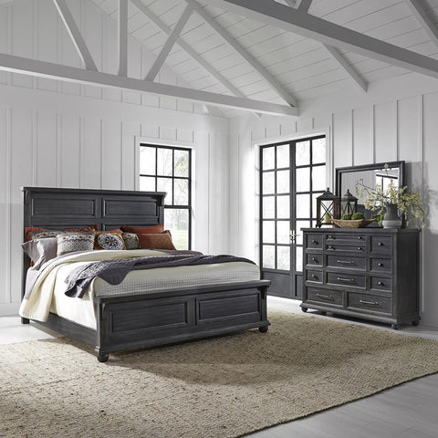 Liberty Harvest Home King California Panel Bed, Dresser & Mirror