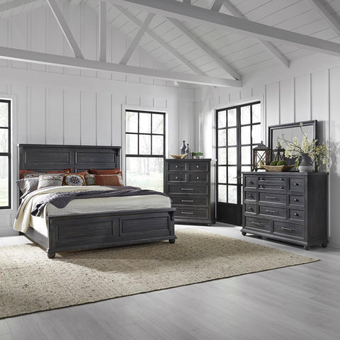 Liberty Harvest Home King Panel Bed, Dresser & Mirror, Chest