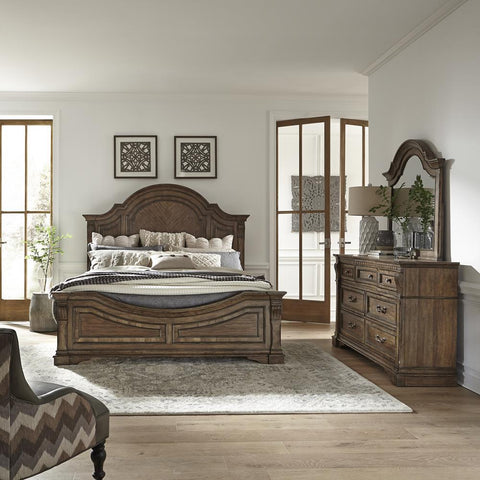 Liberty Haven Hall King Panel Bed, Dresser & Mirror