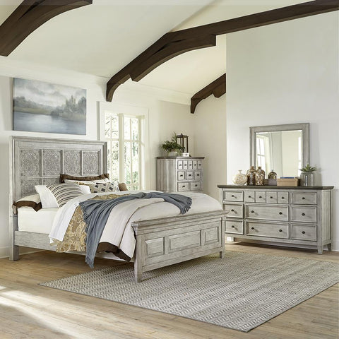 Liberty Heartland King Opt California Panel Bed, Dresser & Mirror, Chest