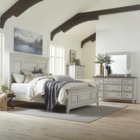 Liberty Heartland King Panel Bed, Dresser & Mirror, Chest